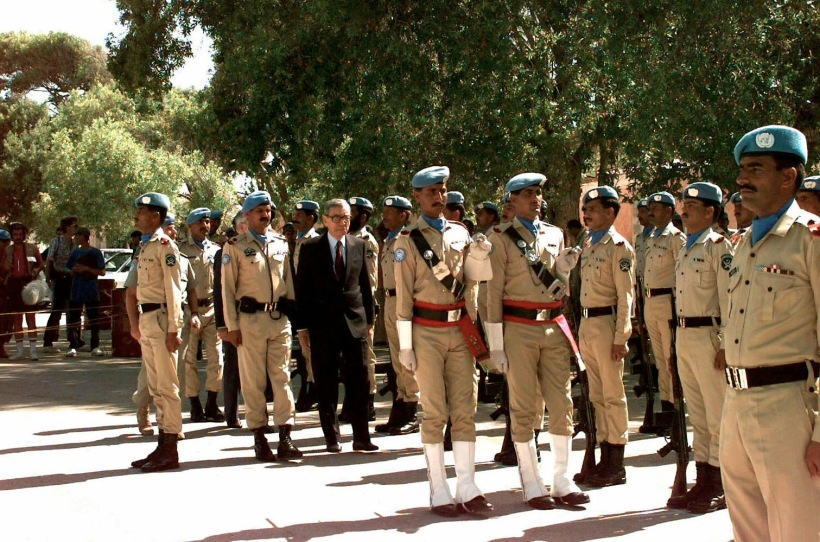 United Nations Secretary GEN Boutros Boutros-Ghali reviews Pakistani troops in formation at the Mogadishu Airport.  The Secretary General is in Somalia for meetings and briefings on Operation Restore Hope.
